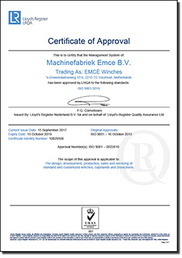ISO 9001 - 2015 Lloyds certificate for EMCE Winches