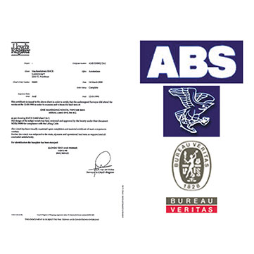 Winch option | Classification certificates (LRS, BV, ABS, DNVGL)